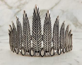 Feather Bun Crown festival hair bridal, feather crown