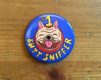 Butt Sniffer Button (Blue)