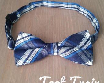 Plaid Bow Tie Tartan Chequered Bow Tie Baby Children Kids Size Navy Tartan