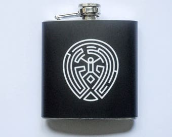 Stainless Steel Hip Flask THE MAZE westworld 6 oz 170 ml High Quality brushed flasks Pocket Outdoor Portable Alcohol with Screw Cap