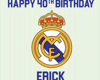 PRINTED Custom Real Madrid Birthday Party Backdrop - Real Madrid Soccer Birthday Party Background - Real Madrid Soccer Party Banner Decor