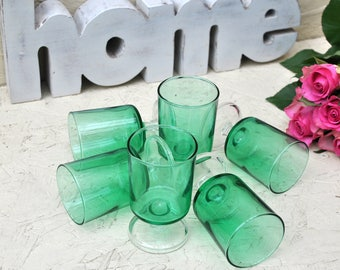 French Vintage Emerald Green Luminarc Cavalier Cherry Glasses - Wine Glasses or Shot Glasses