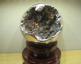 Bismuth Metal Crystal Ball Sphere 68mm with internal metal crystal formations