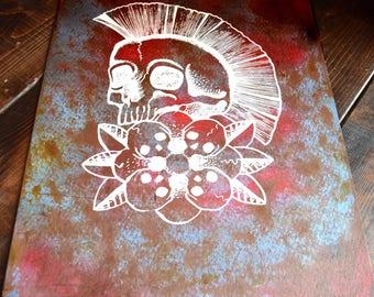 Punk Rock Inspired Mohawk Skull Spray-painted Screen Printed Original Artwork