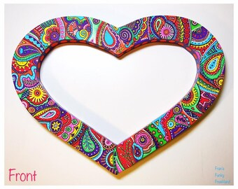Funky Hand Painted Wood Heart Wall Decor