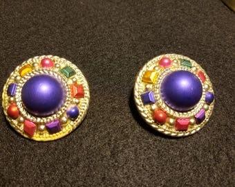 Round Rainbow Clip On Earrings