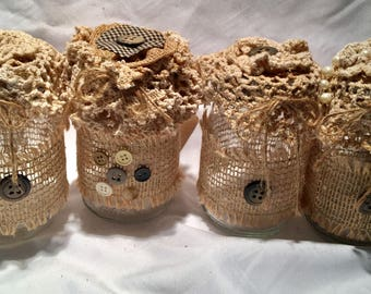 Table decoration, set 4, button and lace jars