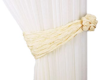 2 pcs, Curtain tie backs, Yellow tiebacks, Drapery tiebacks, Soft curtain tiebacks, Fabric tie backs, Tie backs, Curtain decor, Yellow decor