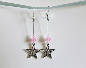 Dangling earrings Star - Pink Pearl