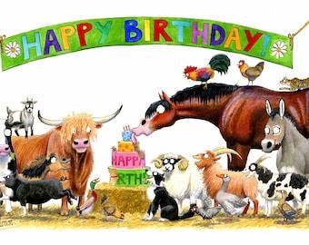 Humorous Farm Birthday Greeting Card - Happy Birthday!