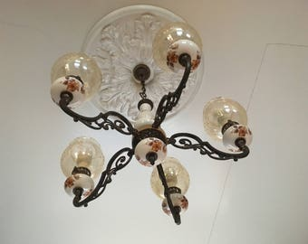 3 Chandeliers of Brass, Etched Glass and Floral Porcelein
