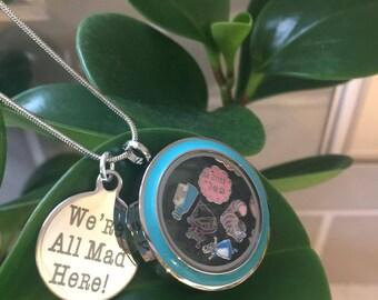 Were All Mad Here ~ Alice in Wonderland Locket in Gift Box