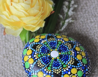 Painted Design, Mandala Rock, Painted Rock, Acrylic, Dot Painted, Pebble Art, Rock Art, Rock Paint, Stone Art, Flower Art, Painted Flower
