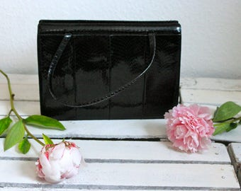 Vintage snakeskin leather handbag 60s