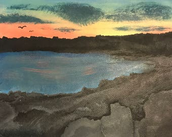 11X15 Sunset By the Rocks