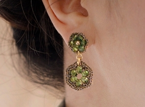 PERIDOT GREEN JEWELRY / gift ideas for women / light green dangle post earrings / dressy earrings / hypoallergenic earrings