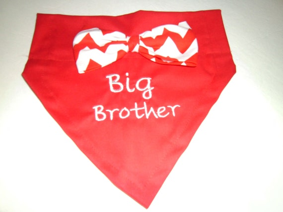 BIG Brother, Dog Bandana, Baby Announcement,  Over the Collar, Monogram, Baby Gift, Dog Scarf
