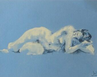 Recline in Blue, 2016 original life drawing soft pastels female figure model artwork mature