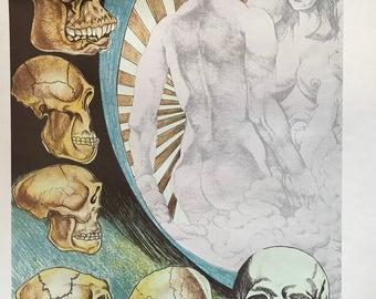 Vintage Strange Weird Adam Eve Skulls Pop Art Poster Print