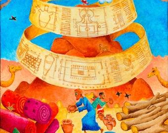 ORIGINAL PAINTING, Jewish art, Judaica, naive art, bible verse wall art, Israel, israeli art, small canvas art, childrens art