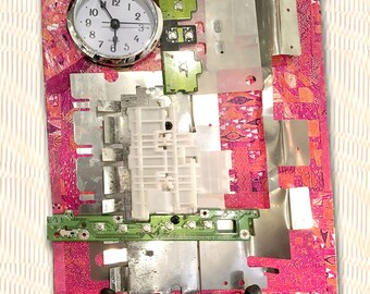 Recycled Computer Part Art Clock Collage Assemblage Pink, Silver, Orange