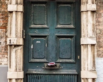 Well Worn Teal Door Photo on Canvas, Bruges Belgium Travel Photography, 16x24 Inch Canvas Gallery Wrap