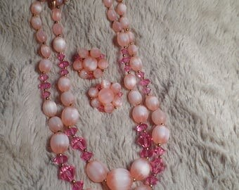 1950's Bead Set with Shades of Pink Signed Lisner