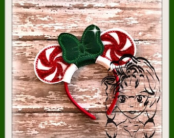 PePPERMINT CaNDY DoLL Size (3 Pc) ~ Mr Ms Mouse Ears Headband ~ In the Hoop ~ Downloadable DiGiTaL Machine Embroidery Design by Carrie