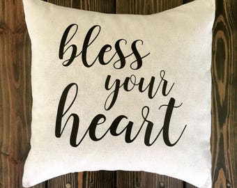 Southern Charm for Southern Belles 18x18 Pillow Covers, Sassy Sayings, Cotton, Natural, Your Choice in Phrase
