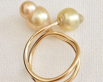 Doubled Coiled South Sea Baroque Pearl Ring