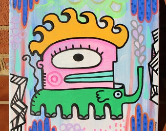 Elephant Boy Art Original Surreal Art Painting by Jelene