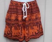 Shorts of India Elephants and Paisleys - Drawstring Waist // Size Sml - xS