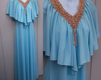 Vintage 70s Blue Maxi Dress ~ Grecian Goddess with Flutter Cape Neckline and Sleeves Macrame embellished with Wood Beading / sz sml