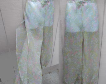 Vintage 60s to 70s Drawstring Harem Pants / Sheer Floral // Indian Gypsy Psychedelic Boho Hippie