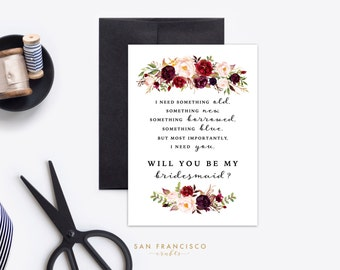 Will you be my BRIDESMAID Card, Something Borrowed, I Need You |  Size A7 or 5x7, Flat and Folded Card | Printable PDF | Holly