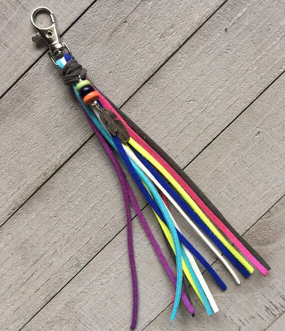 Purse Tassel Key Chain Bag Handbag Charm Zipper Pull - Bright Colorful + Feather Charm Boho Hippie Gypsy Cowgirl Gift for Her (KC249)