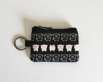Key/coin purse - piggy (black)