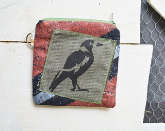 Black Magpie Screen printed Small Zipper Bag. Zipper Pouch. Key Chain. Credit Card Change Wallet Holder. One of a kind Gift.