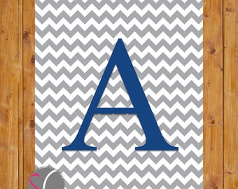 Chevron Monogram Digital Print Letter A Wall Art Nursery Art with Initial Grey Chevron Navy Alphabet  Nursery