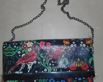 Red Cardinal Bird Hand Painted Ladies Handbag Shoulder Bag Purse Clutch