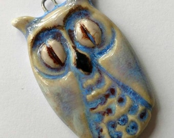 Owl Charm,  Handcrafted Owl,  Owl Jewelry,  Ceramic Jewelry,  Ceramic Beads, Clay Pendant,  Jewelry Owl,  Porcelain,  Clay,  Ceramic Charms,