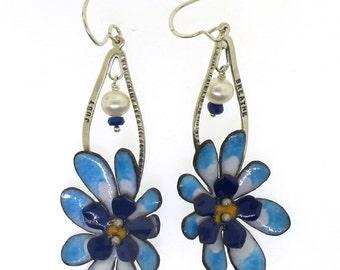 Just Breathe, Blue Flower Earrings, Statement Jewelry by Kathryn Riechert