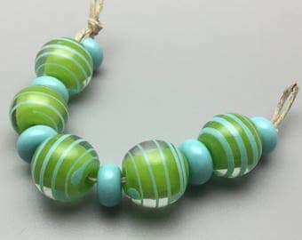 Lampwork Round Bead Set with Spacers in Green and Turquoise