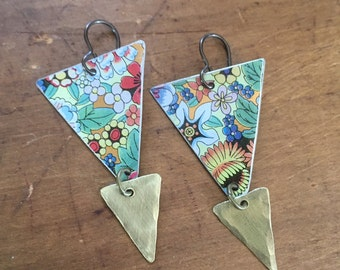 Floral triangle vintage tin earrings