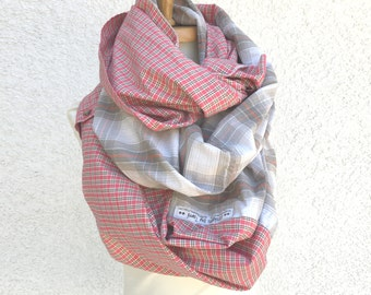 Patchwork plaid infinity scarf cowl cozy cotton fall chunky warm soft thick boho gypsy upcycled wrap flannel grunge brown red button scarf