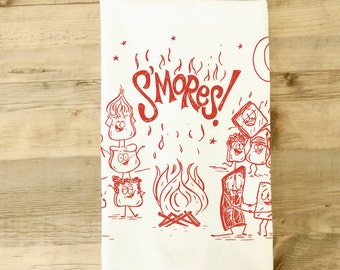 S'mores Smores Tea towel Camping Camp fire Red Retro Marshmallow Chocolate graham cracker Dish Towel