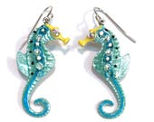 Seahorse Earrings Fun Hand Painted in Pearlized Light Green and Aqua