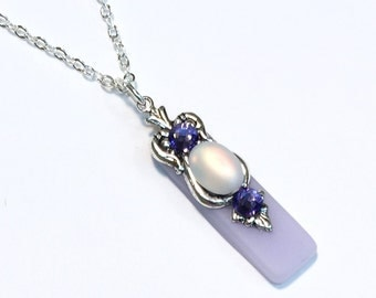 Stained Glass Necklace Light Purple