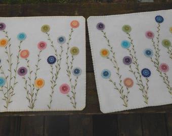 Custom Made Table Top Mat, Penny Rug, Place Mat, Fiber Art, Home Decor