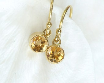Citrine Earrings in 18ct Gold | November Birthstone | Handmade in the UK